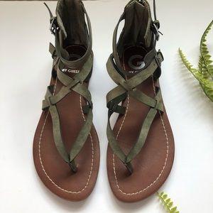 G by Guess green criss cross sandals sz 8.5